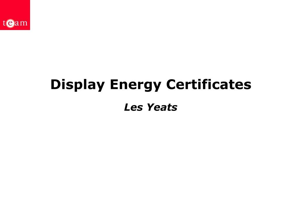 display energy certificates les yeats l.