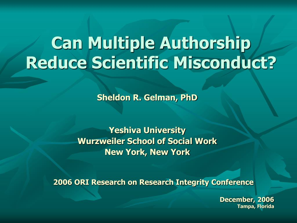 can multiple authorship reduce scientific misconduct l.