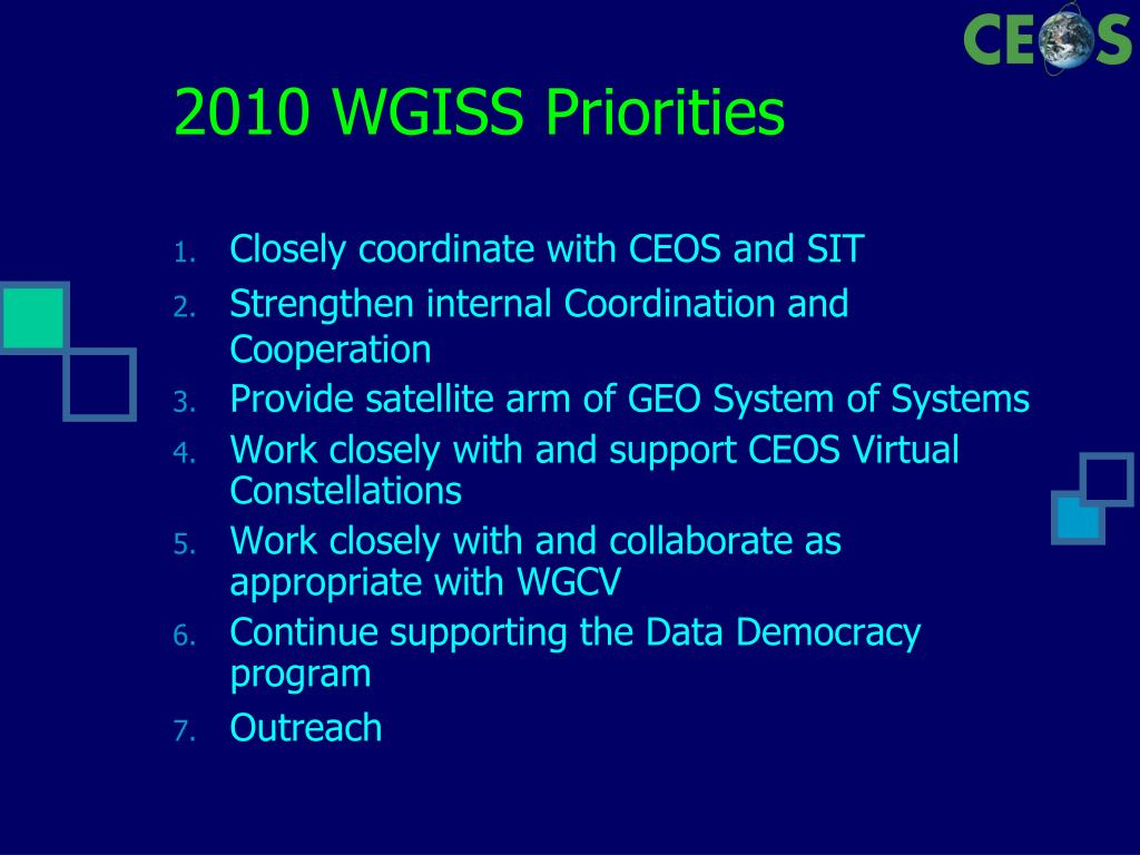2010 WGISS Priorities