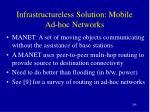 infrastructureless solution mobile ad hoc networks