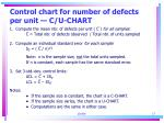 control chart for number of defects per unit c u chart