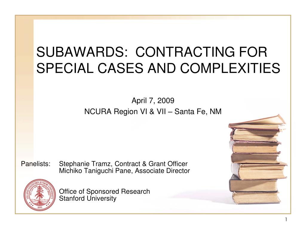 subawards contracting for special cases and complexities l.