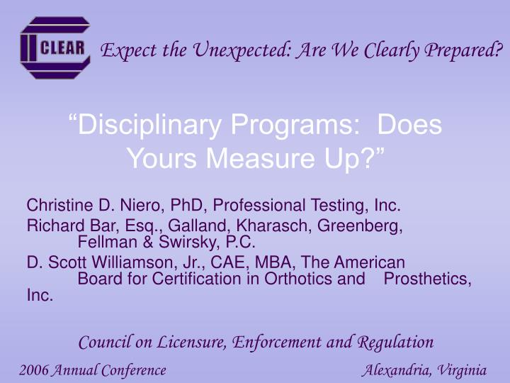 disciplinary programs does yours measure up n.