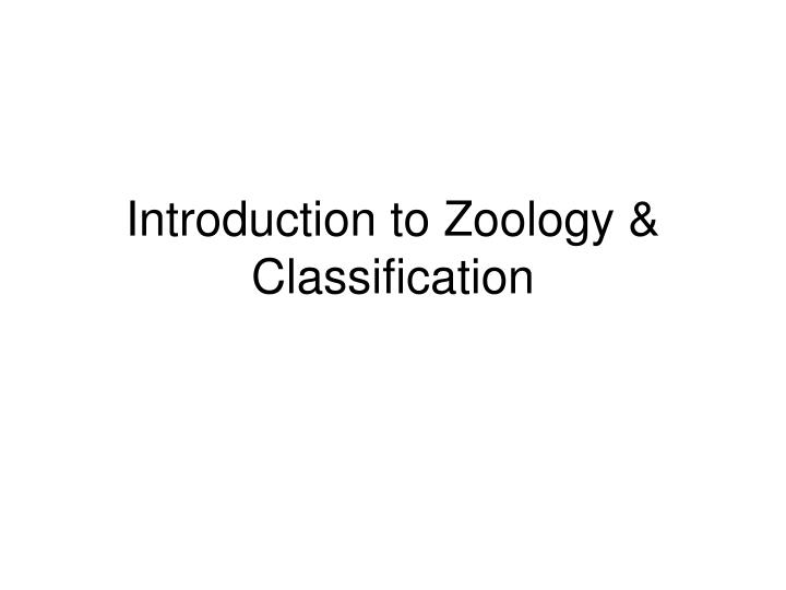 introduction to zoology classification n.