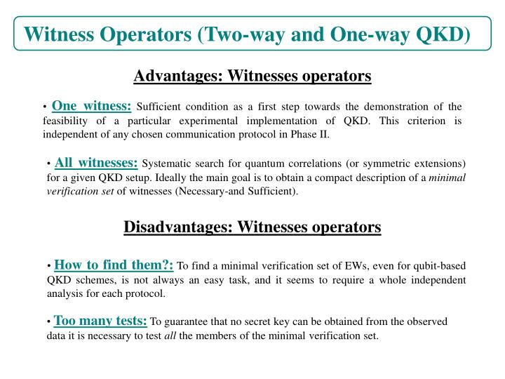 Witness Operators (Two-way and One-way QKD)
