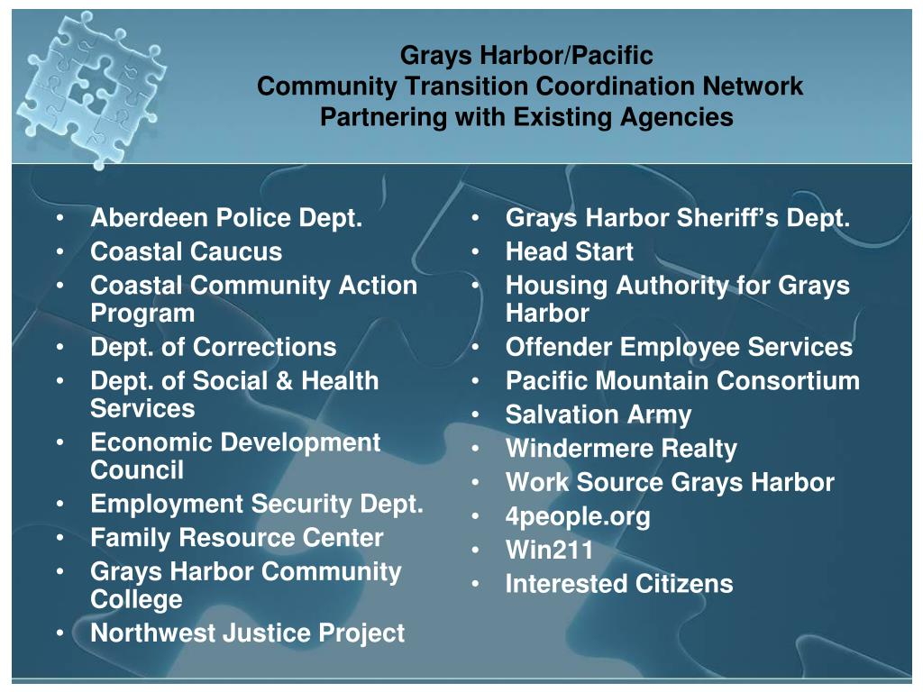 grays harbor pacific community transition coordination network partnering with existing agencies l.