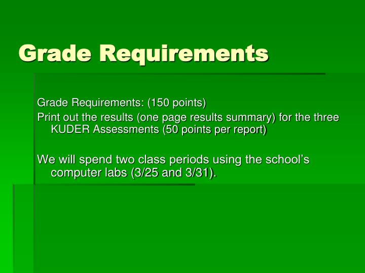 Grade requirements