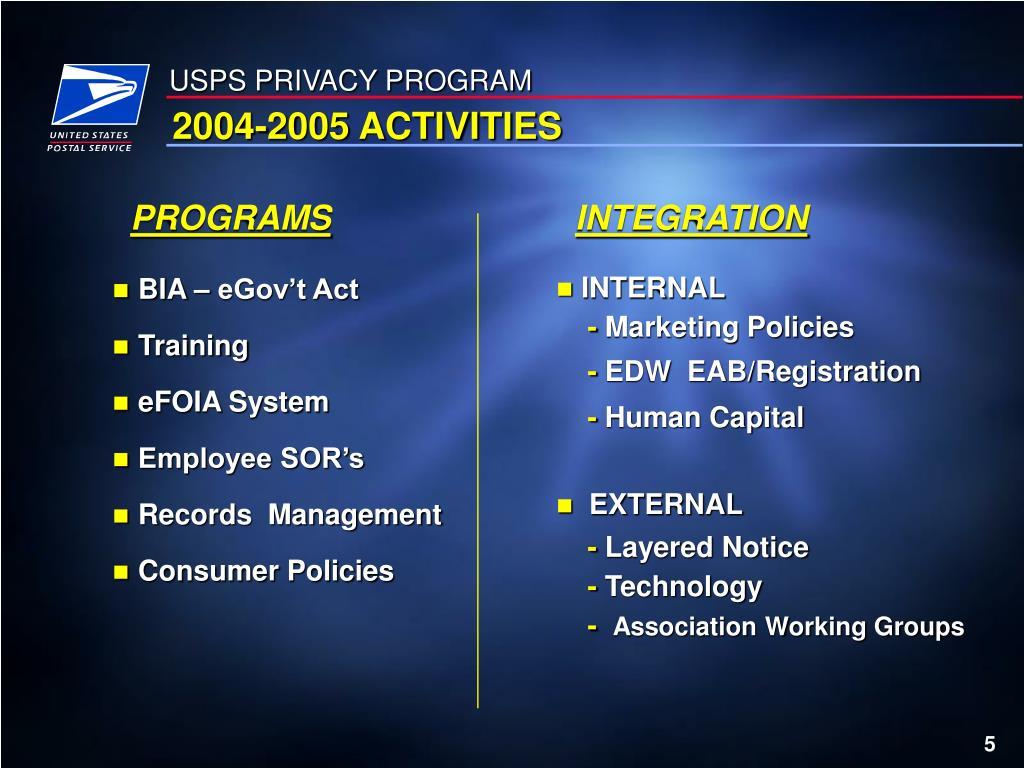 USPS PRIVACY PROGRAM
