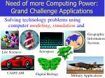 need of more computing power grand challenge applications