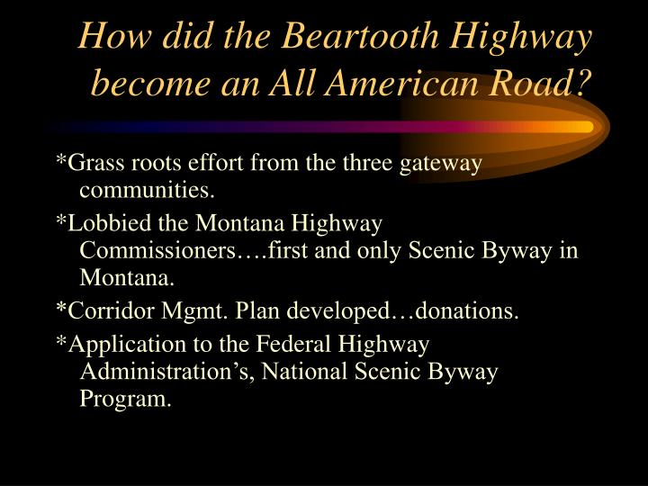 How did the beartooth highway become an all american road