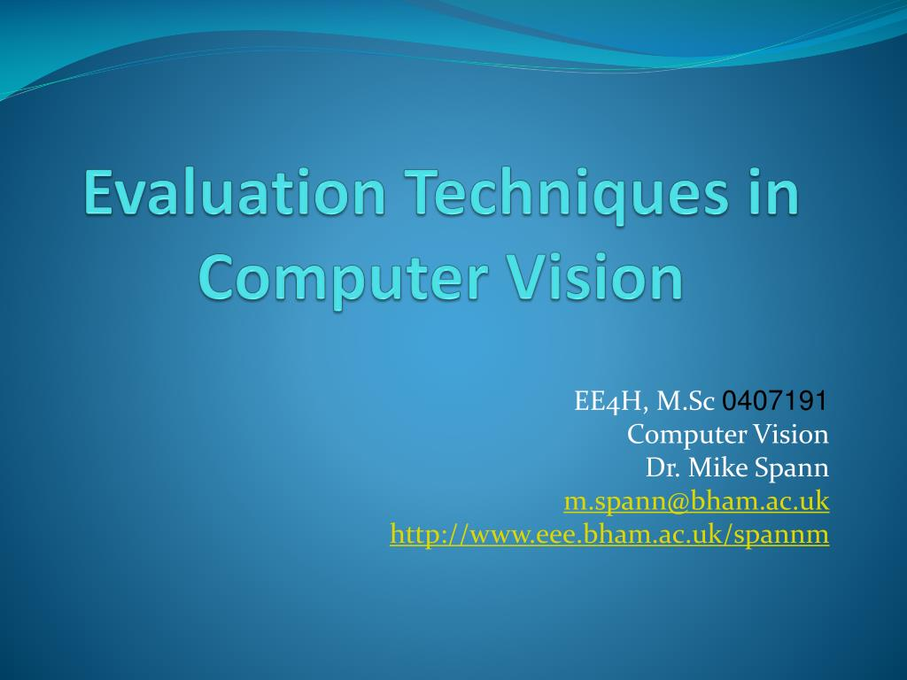 evaluation techniques in computer vision l.