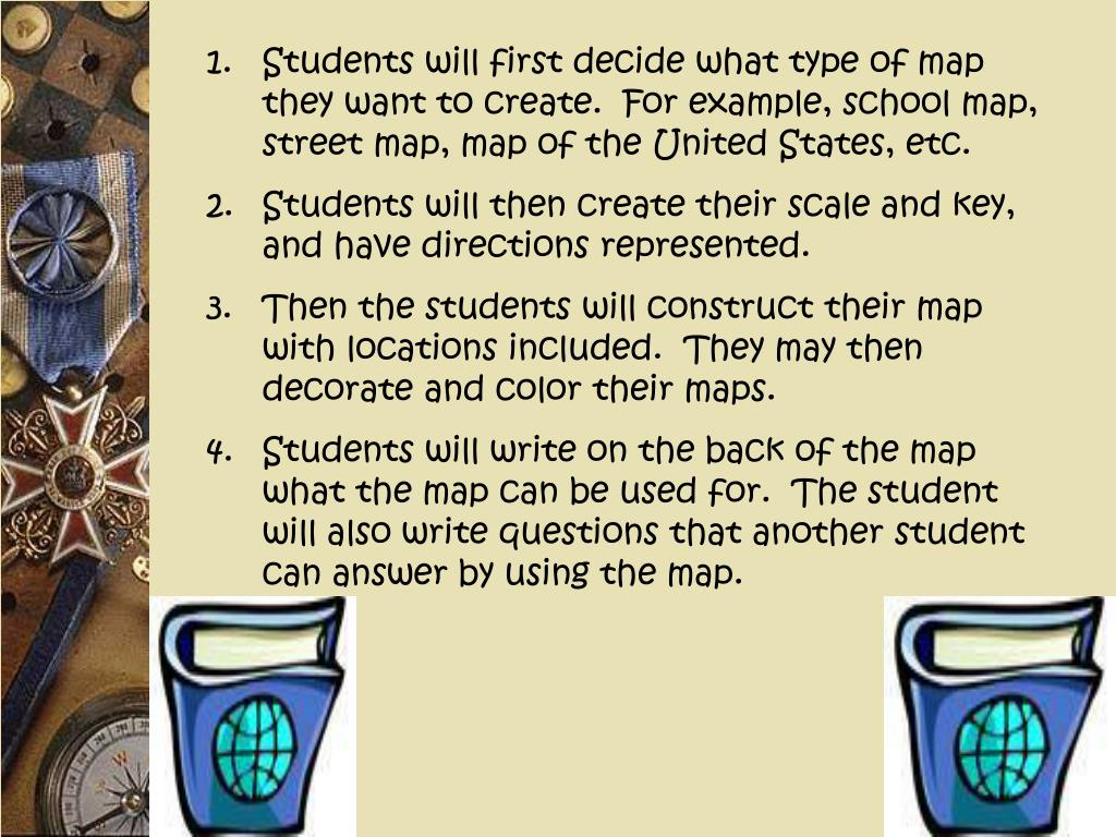 Students will first decide what type of map they want to create.  For example, school map, street map, map of the United States, etc.