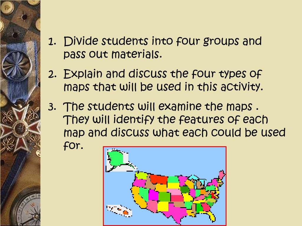Divide students into four groups and pass out materials.