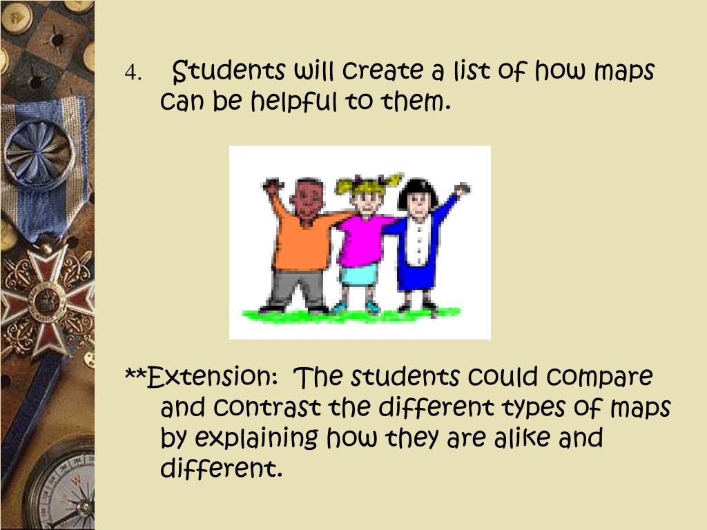 Students will create a list of how maps can be helpful to them.