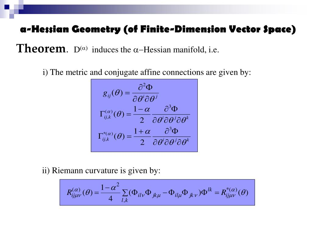 i) The metric and conjugate affine connections are given by: