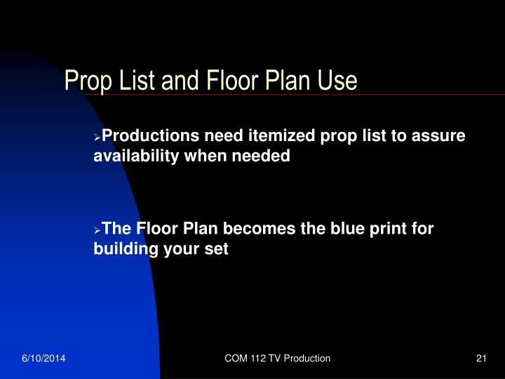 Prop List and Floor Plan Use