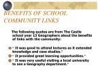 benefits of school community links