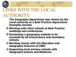 links with the local authority