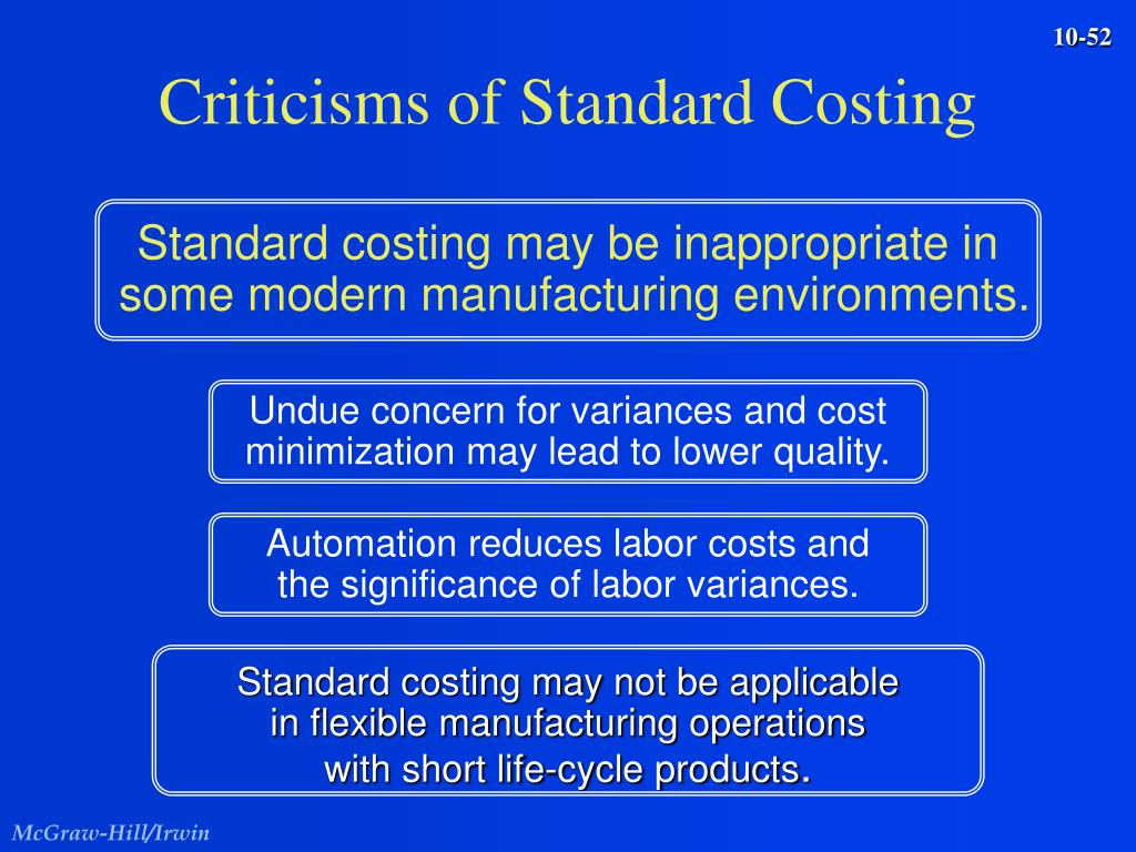 Standard costing may be inappropriate in