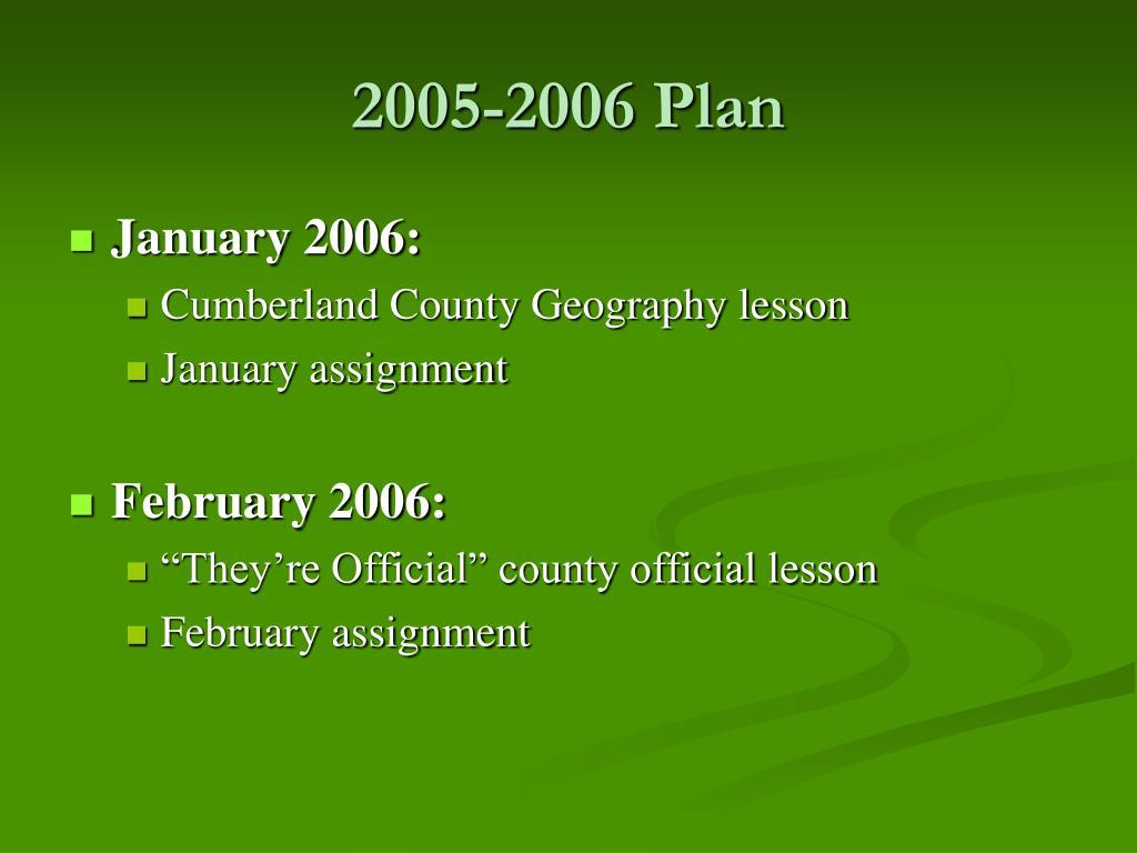2005-2006 Plan
