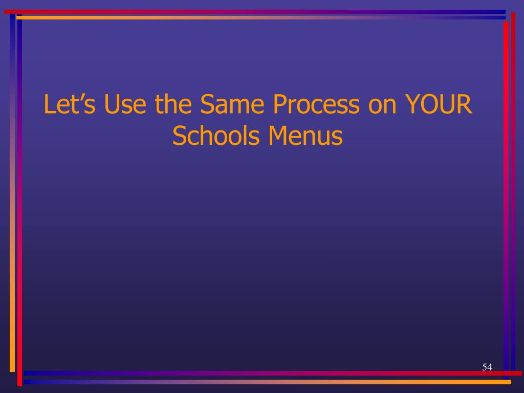 Let's Use the Same Process on YOUR Schools Menus