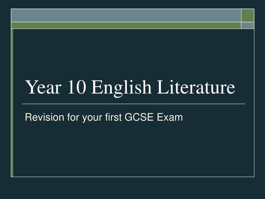 year 10 english literature l.