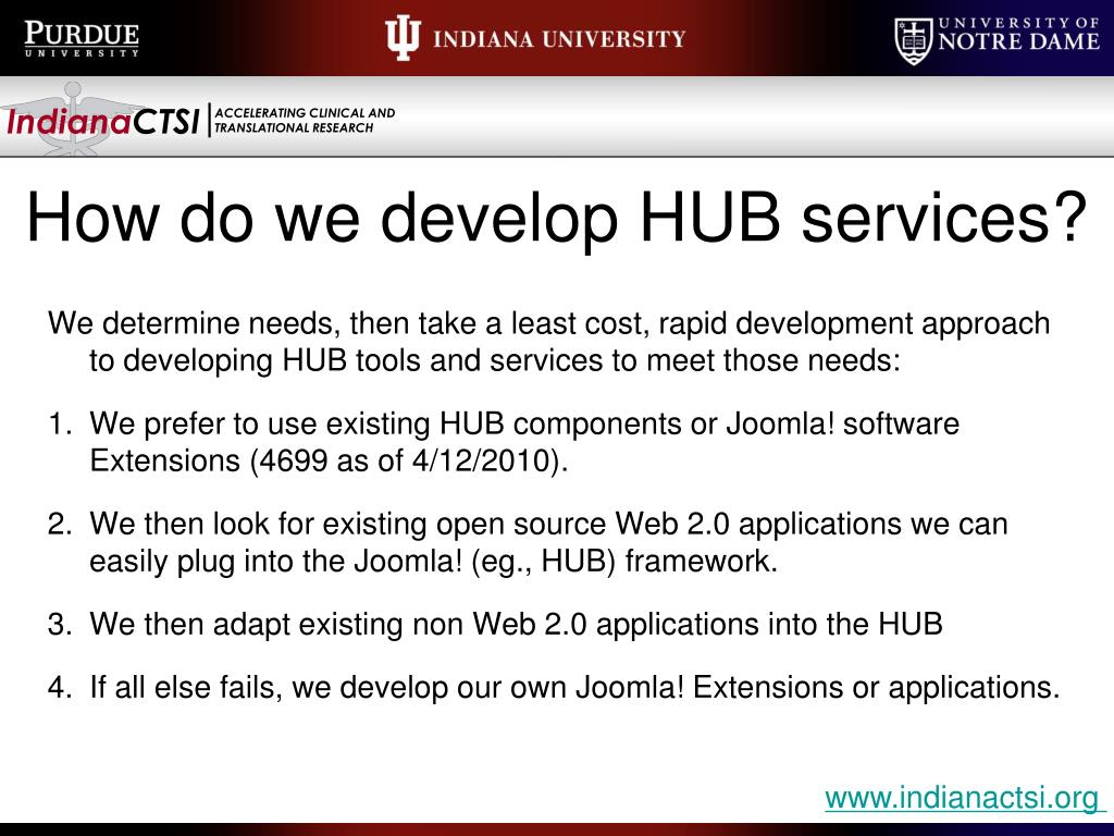 How do we develop HUB services?
