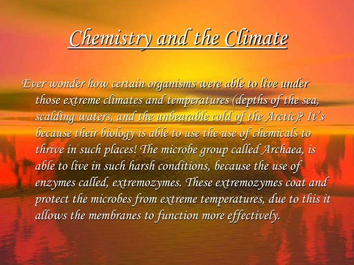 Chemistry and the climate