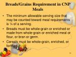 breads grains requirement in cnp meals