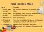 fiber in school meals