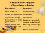functions and categories of ingredients in baking