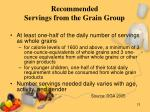 recommended servings from the grain group