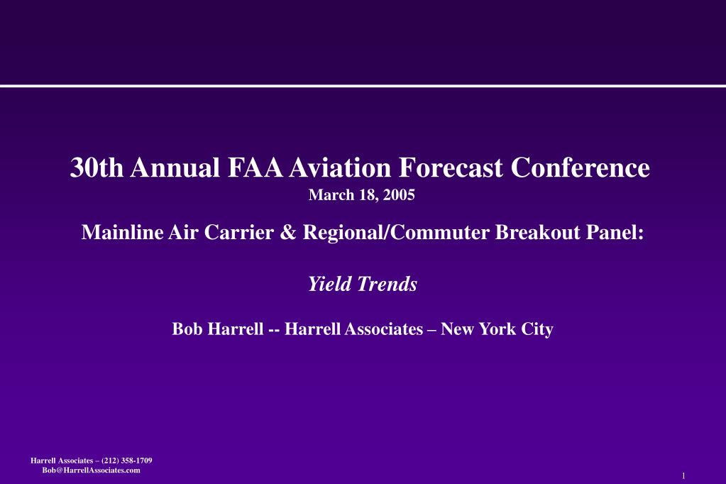 30th annual faa aviation forecast conference march 18 2005 l.