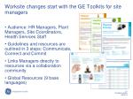 worksite changes start with the ge toolkits for site managers