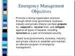 emergency management objectives