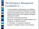 the emergency management coordinator is