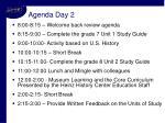 agenda day 2