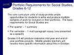 portfolio requirements for social studies grades 6 12