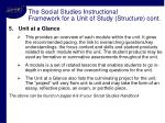 the social studies instructional framework for a unit of study structure cont