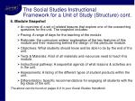the social studies instructional framework for a unit of study structure cont10