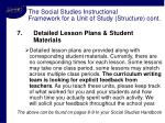 the social studies instructional framework for a unit of study structure cont11