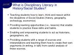 what is disciplinary literacy in history social studies