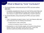 what is meant by core curriculum
