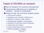 impact of hiv aids on transport