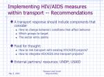 implementing hiv aids measures within transport recommendations