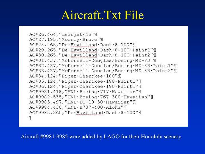 Aircraft txt file