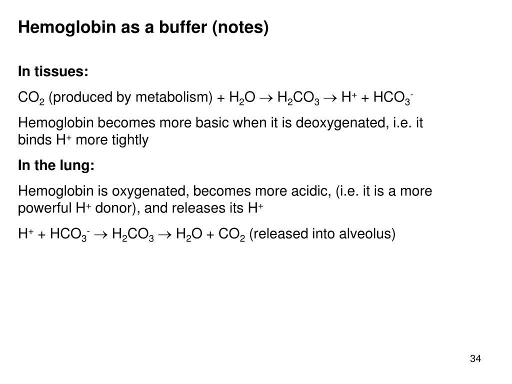 Hemoglobin as a buffer (notes)