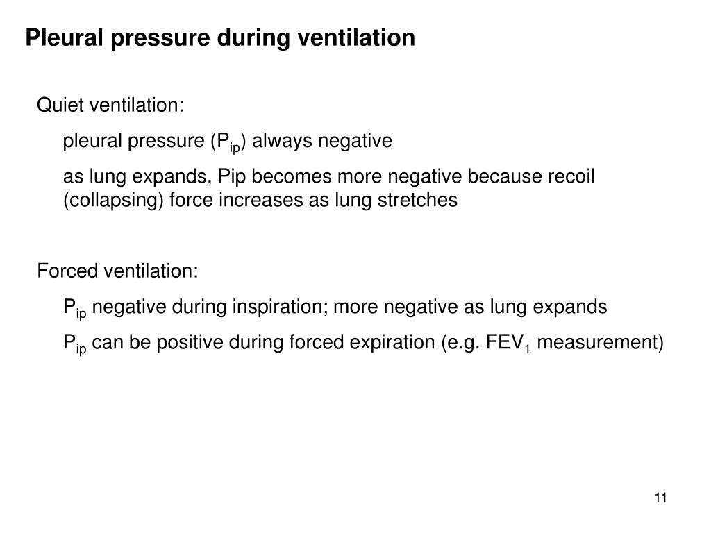 Pleural pressure during ventilation