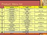 product menu list