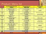 product menu list42
